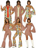 Ladies Mens 60s 70s Costume Hippy Disco Suit Flares Fancy Dress Couples Hippie
