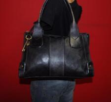 FOSSIL Vintage Reissue Lrg Rugged Black Leather Tote Shoulder Satchel Purse Bag