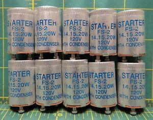 Fluorescent Starter FS-2 Aluminum UL 14, 15, 20W 120V With Condenser BOX OF 10