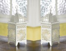 2 White Iron Candle Lanterns w/ Floral Filigree Scrollwork Moroccan Style