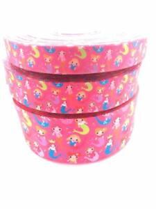 "Pink Mermaids 3""  1.5"" 1"" 75mm 38mm 25mm Grosgrain Ribbon"