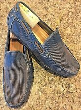 GBX Corduroy Driving Moccasins Slip On Loafers Shoes Blue / Brown / Tan SIZE 8.5