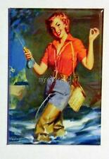 "Vintage SEXY  PIN-UP FISHING  2"" x 3"" Fridge MAGNET ART PIN UP"