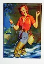 """Vintage SEXY  PIN-UP FISHING  2"""" x 3"""" Fridge MAGNET ART PIN UP"""