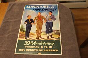 "C. 1949 Lawrence Wilbur Boy Scouts of America 13 1/2"" x 19 1/2"" cardboard poster"