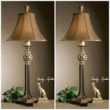 PAIR VINTAGE FRENCH COUNTRY GOLD LEAF BLACK CRACKLE TABLE LAMP SILKEN SHADE