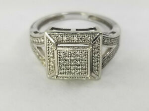 .98ct Bright Diamond 10k White Gold Ring Size 7