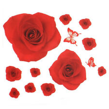 PVC Rose Flower Butterfly Pattern Wall Sticker Decal Home Decor Red K3N3