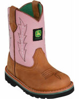 JOHN DEERE Girls Kid's Classic Johnny Popper Pink Brown Work Boots JD3185 NIB