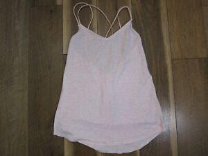 "Lululemon Women's Pink/White Space Dye Breezy Strappy Tank Top Sz 2 Bust 28"""