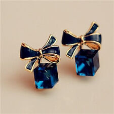 crystal earrings bow stud earrings gold blue water diamond earrings