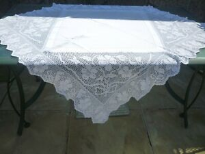 antique hand crochet tablecloth violets and bows