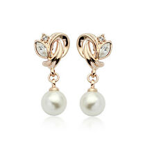 18K ROSE GOLD PLATED GENUINE CUBIC ZIRCONIA & WHITE PEARL DROP DANGLE EARRINGS