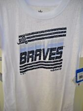 ATLANTA BRAVES GIRLS YOUTH X-LARGE XL SIZE 16 WHITE FASHION T-SHIRT WITH LOGO A