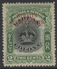 MALAYA STRAITS SETTLEMENTS SG142a 1906 2c BLACK & GREEN p14½-15 MTD MINT