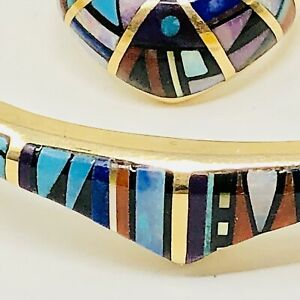 14K Gold Zuni Inlay Cuff Bracelet Ring Set Zuni 1970s VTG Opal Turquoise Coral