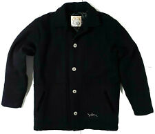 Volcom Wool Winter Coat Peacoat Jacket Quilted Mens Size L Large Black Button Up