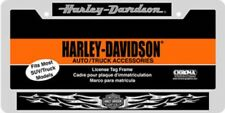 HARLEY DAVIDSON BLACK SILVER FLAMES METAL CHROME LICENSE PLATE FRAME