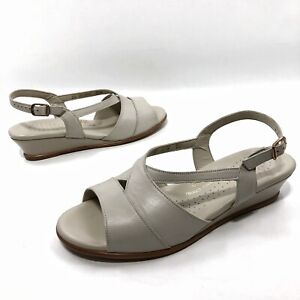 ✅❤️✅ Women's SAS Suntimer Strappy Sandals Shoes Size 8.5 W Taupe Leather wedge
