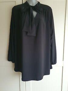 BNWT Ladies Evans Plus Size UK 18 Black Pussybow Blouse Top