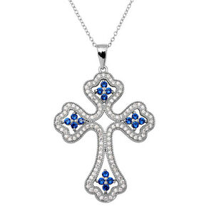 925 STERLING SILVER ENCRUSTED OPEN CROSS NECKLACE PENDANT W/ ACCENTS/ 18''