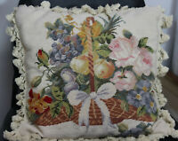 "18"" French Country Style Handmade Wool Needlepoint Pillow Tassel Roses & Fruits"