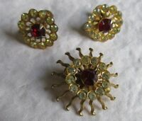 Vintage Pin & Earrings Red & Clear Rhinestone Signed Goddess Jade Jewelry
