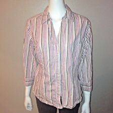 52387c1b Riders Button Down Shirt Size XL Womens Blouse Striped Stretch Lee Slimming
