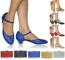Nuevo Mujer Pedrería Ankle Strap Fiesta Boda Planos Tacón Bajo Tribunal Talla