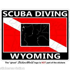 Wyoming Scuba Diving flag-map forme USA 100mm (4 po) rectangulaire autocollant decal