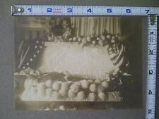 Antique Photo Man Post Mortem Photograph American Flag on Casket