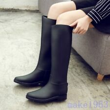 British Womens Summer Knee High Rainboots Long Riding Low heel Shoes Solid New