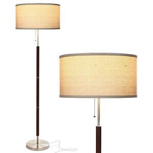 """Brightech Carter Mid Century 65"""" Tall Free Standing Pole LED Floor Lamp, Wood"""