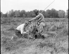 Photo 1917-8 WW1 Massachusetts.  Soldier Tying Photographer to Man-Kites Cords
