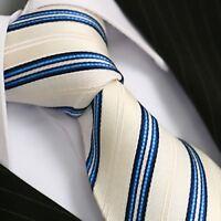 Krawatte Krawatten Schlips Binder de Luxe Tie cravate 149 weiß blau gestreift