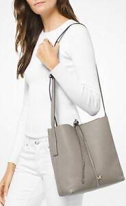 MICHAEL Kors Women's Junie Large Pebbled Leather Messenger (Pearl Grey) NWT