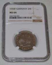 1958-F 2 German Mark from Germany Graded by NGC as MS 64
