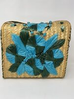Vintage Raffia Straw Floral Woven Boho Large Beach Purse Tote Bag Blue Green