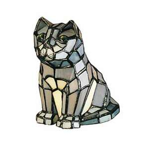 Meyda Lighting 7'H Cat Tiffany Glass Accent Lamp, Grey Ca - 11323