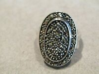 Large Vintage Sterling Silver Marcasite Ring Sz 8.25
