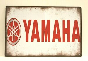 New Yamaha Motorcycles Tin Poster Sign Rustic Vintage Style Man Cave Garage Red