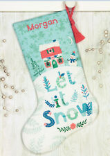 Cross Stitch Kit ~ Dimensions Holiday Home Snowman Christmas Stocking #70-08975