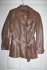 Ladies Leather coat short jacket  Tan ladies 13/14 womens beige EUC Lined belt