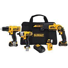 DeWALT 12-Volt 4-Tool Combo Kit Drill Impact Driver Reciprocating Saw LED Light