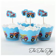 12 pcs Construction Truck Cupcake Toppers + Wrappers. Party Boy Cake Jelly Cup
