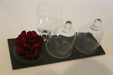 Drei Glasglocken auf Schieferplatte, Glas Schiefer, Glasdom, ca.39 x 14 cm, Neu!