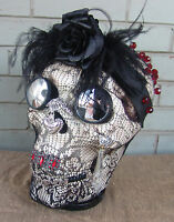 Jeweled Skull Day of the Dead The Widow OOAK Art Piece Pedestal Custom 11""