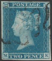 1841 SG14 2d BLUE PLATE 3 VERY FINE USE MALTESE LIGHT CROSS 4 MARGINS (MK)