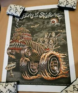EMEK Queens Of The Stone Age LA Forum HALLOWEEN BONE show edition Poster