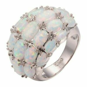 Fashion Oval Cut Opal 925 Silver Rings Jewelry Women Wedding Ring Gift Size 6-10
